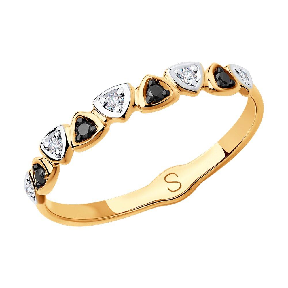 Кольцо SOKOLOV из золота с бесцветными и чёрными бриллиантами фото