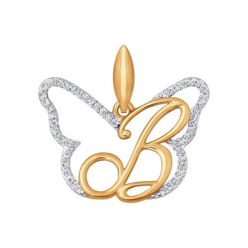 Фото - Золотая подвеска-буква «В» SOKOLOV из золота золотая подвеска буква и sokolov