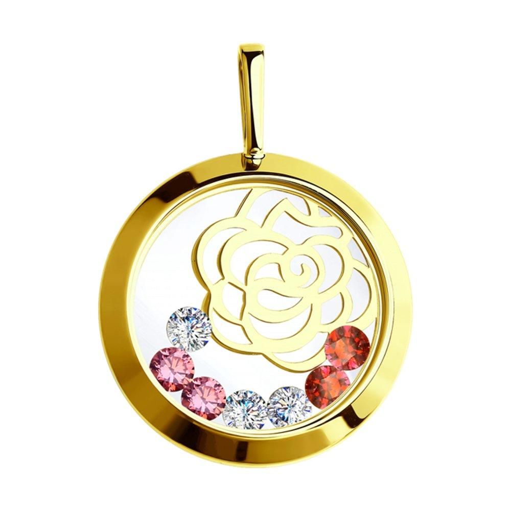 Фото - Подвеска SOKOLOV из желтого золота с минеральным стеклом и бесцветными, красными и розовыми фианитами подвеска sokolov из золота с розовыми зелеными и красными фианитами