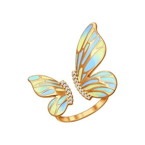 Позолоченное кольцо в форме бабочки SOKOLOV