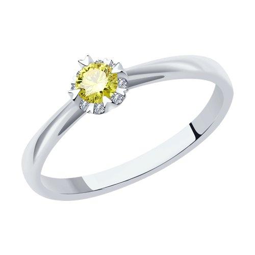 Кольцо из белого золота с искусственно выращенными бриллиантами