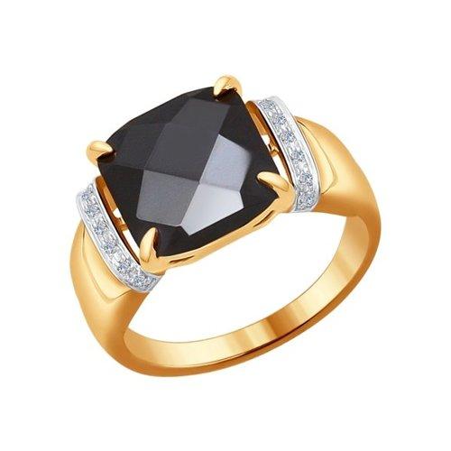 Кольцо из золота с бриллиантами и чёрной керамической вставкой