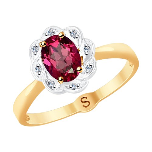 Кольцо из золота с бриллиантами и рубином 4010624 SOKOLOV фото