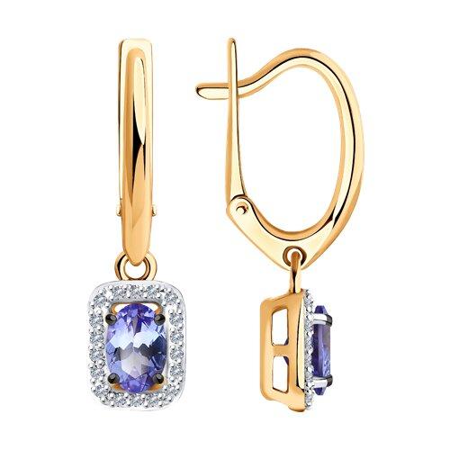 Серьги из золота с бриллиантами и танзанитами (6024158) - фото