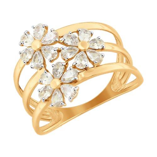 Кольцо из золота со Swarovski Zirconia (81010349) - фото
