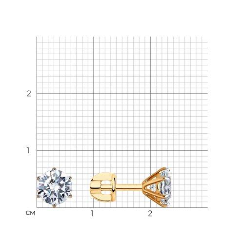Серьги-пусеты из золота с фианитами (026702) - фото №2