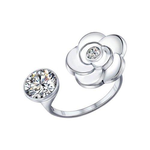 Кольцо из серебра с фианитами (94011885) - фото
