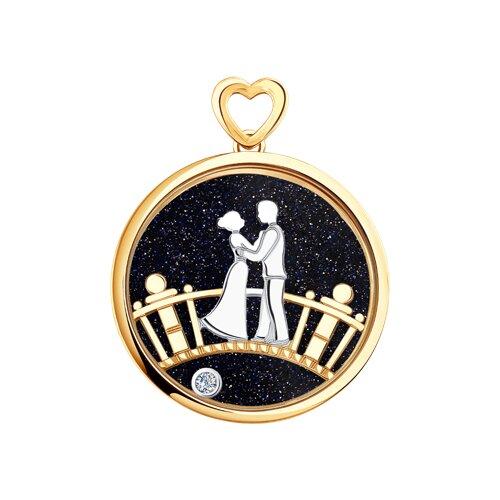 """Подвеска """"Влюбленная пара"""" из комбинированного золота с миксом камней"""