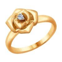 Кольцо «Роза» из золота с бриллиантом