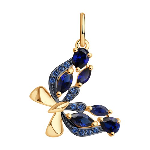 Золотая подвеска в виде бабочки с синими корундами и синими фианитами (731565) - фото