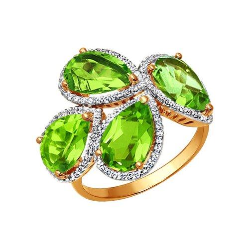 Роскошное золотое кольцо с хризолитами SOKOLOV золотое кольцо ювелирное изделие 01k663088