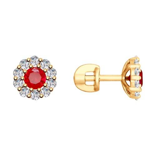 Серьги из золота с красными корундами (синт.) и фианитами (725725) - фото