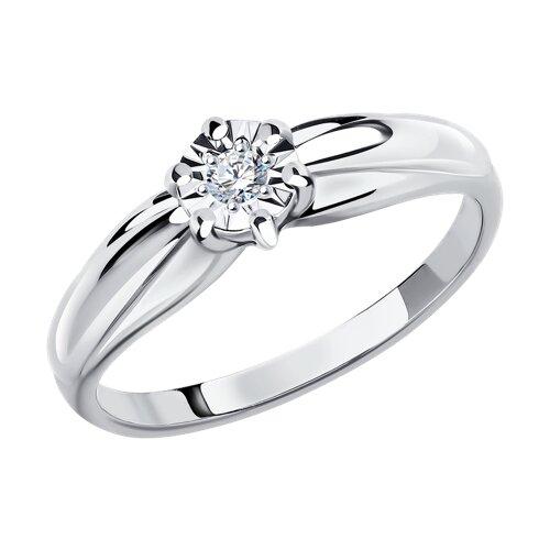 Кольцо из белого золота с алмазной гранью с бриллиантом