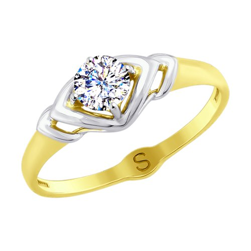 Кольцо из желтого золота с фианитом (017911-2) - фото