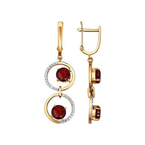 Фото - Длинные серьги SOKOLOV из красного золота с гранатом золотые серьги украшенные бантиком с гранатом sokolov