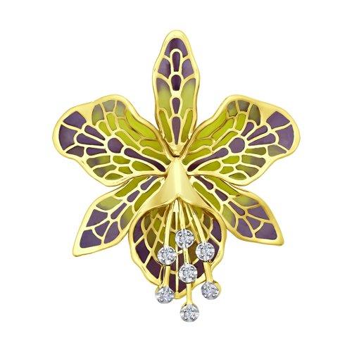 Брошь из желтого золота с эмалью и бриллиантами 6049005-2 sokolov фото