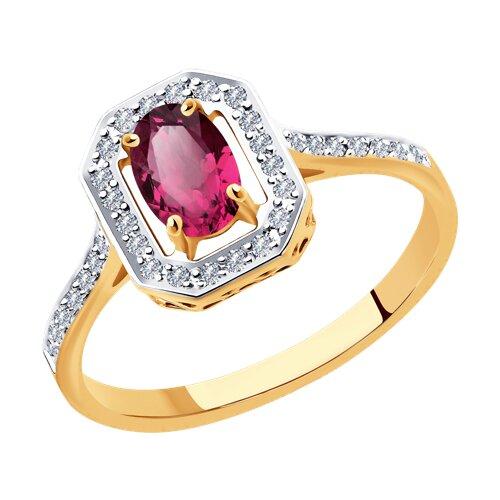 Кольцо из золота с рубоином и бриллиантами (4010638) - фото