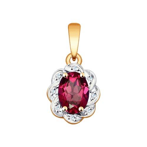 Подвеска из золота с бриллиантами и рубином