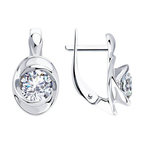 Серьги из серебра с фианитами (94023435) - фото