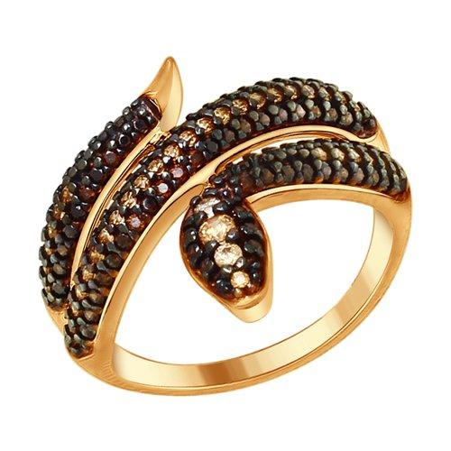 Кольцо «Змея» с фианитами (93010683) - фото