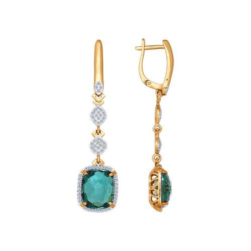 Серьги длинные из золота с бриллиантами и кварцем