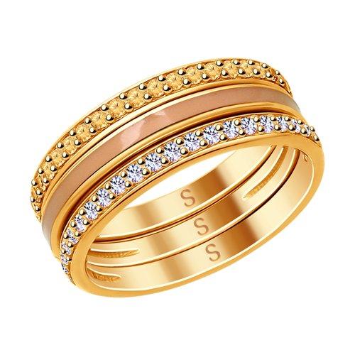 Кольцо из золочёного серебра с эмалью и фианитами (93010787) - фото