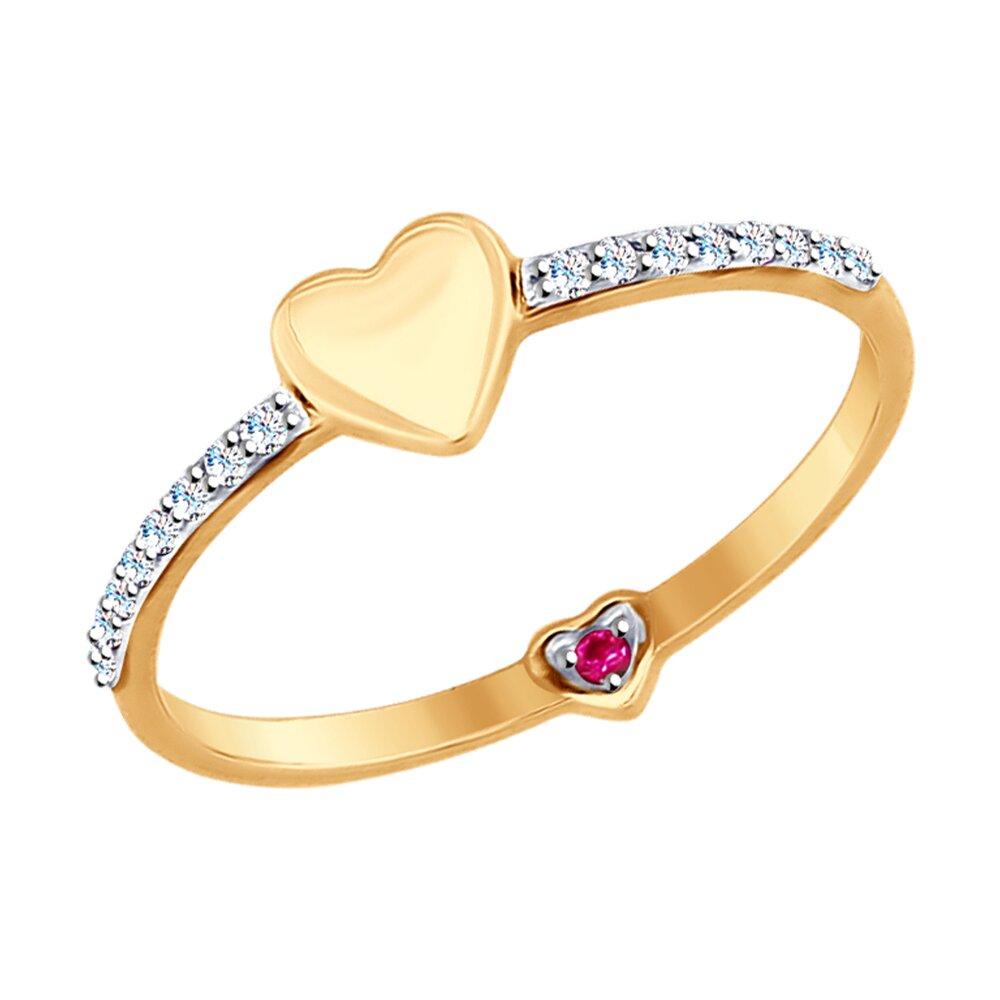 Золотое кольцо с сердцем SOKOLOV золотое кольцо ювелирное изделие 01k513557