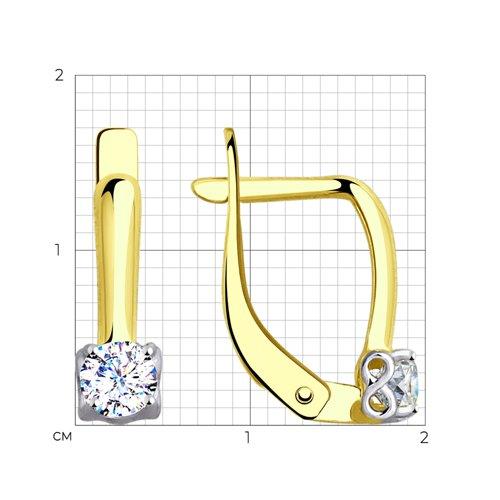 Серьги из желтого золота с фианитами (027617-2) - фото №2
