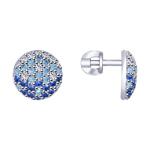 Серьги из серебра с фианитами (94022790) - фото