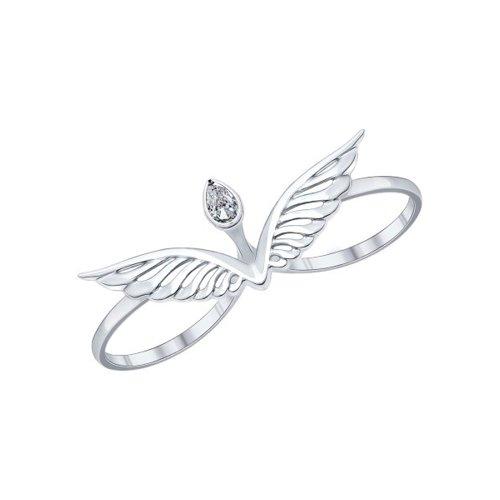Кольцо на два пальца из серебра с фианитом