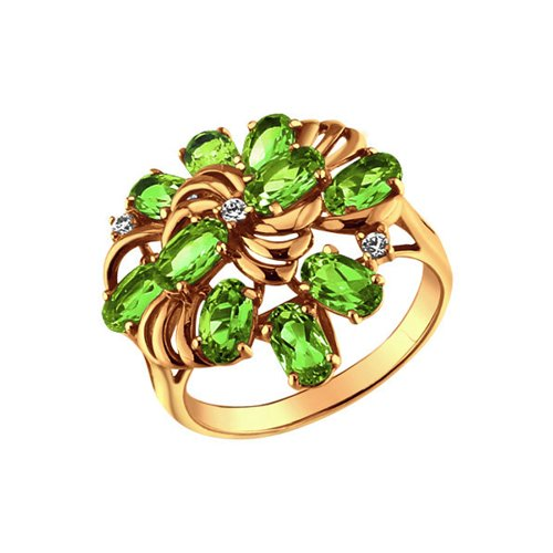 Золотое кольцо с яркими зелёными вставками SOKOLOV золотое кольцо ювелирное изделие 01k673222