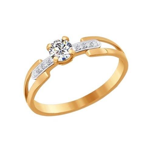 Кольцо из золота с фианитами (015353) - фото