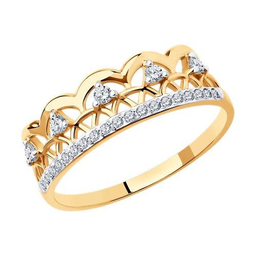 Кольцо из золота с фианитами (017579) - фото
