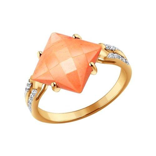 Золотое кольцо с квадратным кораллом SOKOLOV