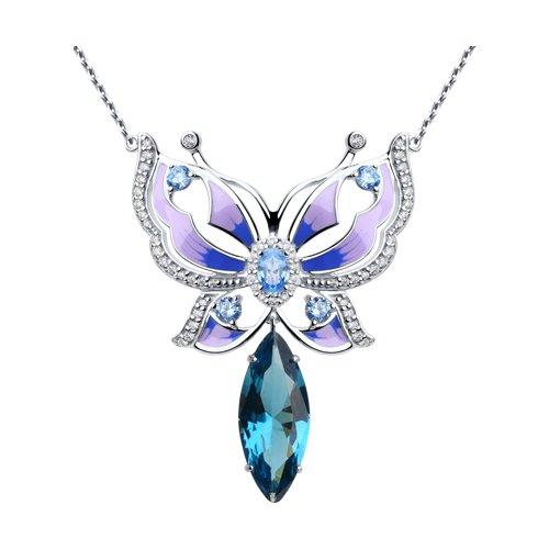Колье из серебра с эмалью и синим ситаллом и фианитами