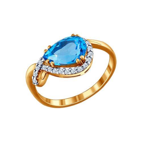 Женское кольцо с грушевидным топазом и фианитами цена