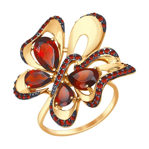 Кольцо «Бабочка» из золота с гранатами и красными фианитами (714795) - фото