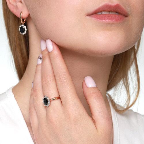 Кольцо из золота с бриллиантами и сапфиром (2011071) - фото №5