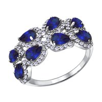 Кольцо из серебра с синими корунд (синт.) и фианитами