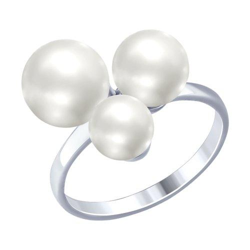 Кольцо из серебра с жемчугом (94012514) - фото