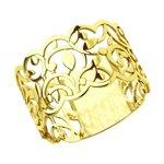 Ажурное кольцо из золочёного серебра