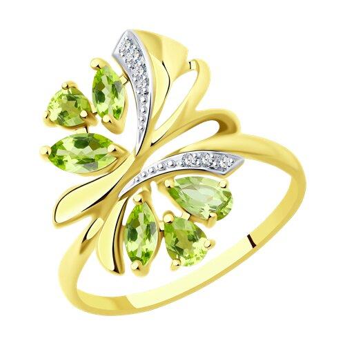 Кольцо из желтого золота с хризолитами и фианитами