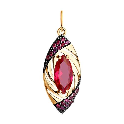 Подвеска из золота с корундом рубиновым (синт.) и красными фианитами