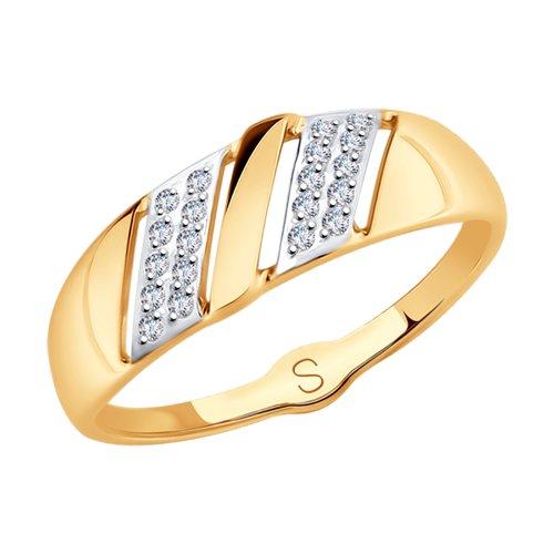 Кольцо из золота с фианитами (017999) - фото