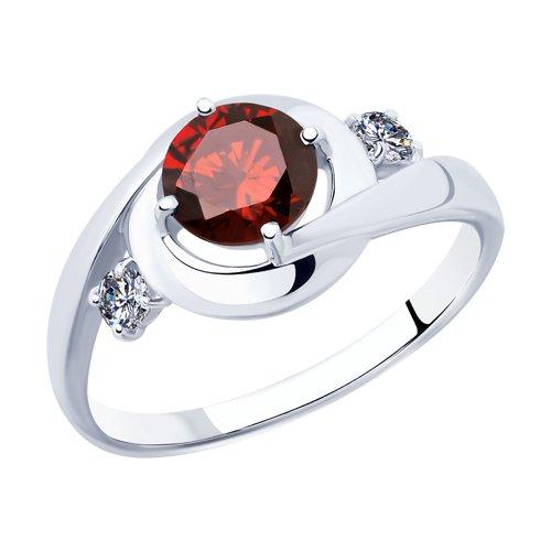 Кольцо из серебра с фианитами (94012872) - фото