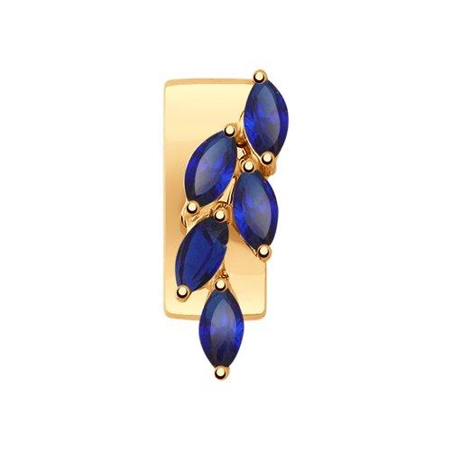 Подвеска SOKOLOV из золота с синими корундами (синт.) подвеска на ремень victorinox multiclip с короткой и длинной цепочкой металлическая