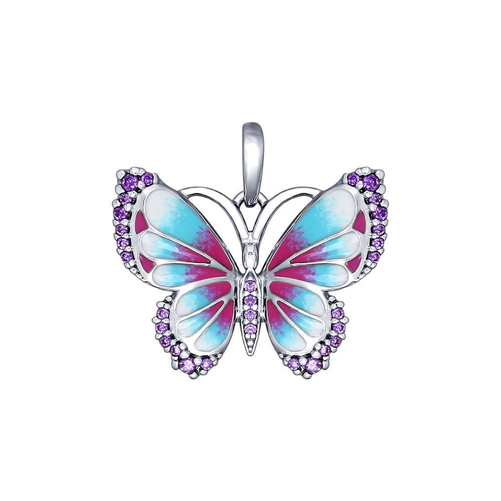 Подвеска в виде бабочки с эмалью и фианитами SOKOLOV золотая подвеска в виде бабочки с агатами и фианитами sokolov