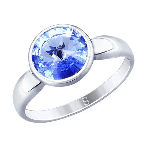 Кольцо из серебра с синим кристаллом Swarovski (94012603) - фото