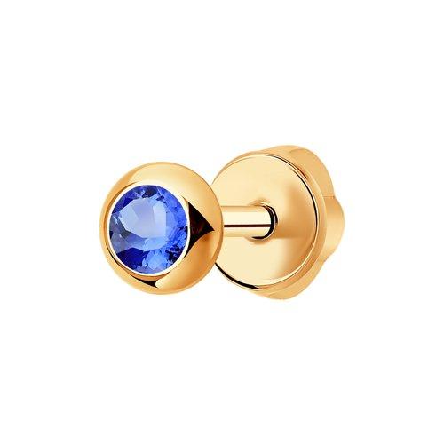 Серьга-пусета из золота с голубым сапфиром (2170003) - фото