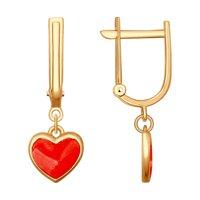 Золотые серьги в виде сердца с эмалью
